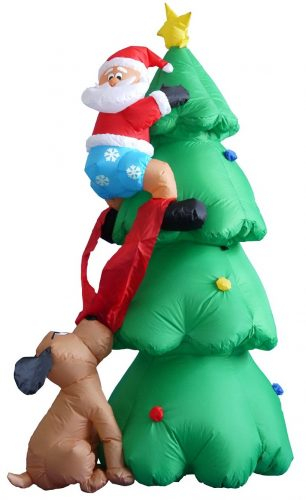 Inflatable Christmas tree, with Santa being chased into the tree by a dog.