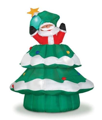 #3 Inflatable Christmas Tree With Santa Rising From The Tree.