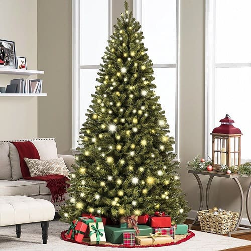 7.5' Ft Prelit Premium Spruce Hinged Artificial Christmas Tree