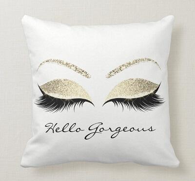 Hello Gorgeous Gold Spark Throw Pillow