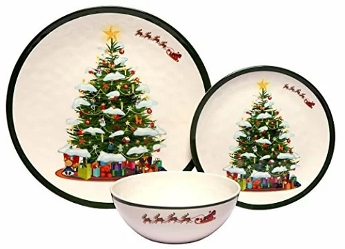 Melamine Christmas Tree Dinnerware Set