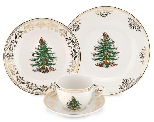 Spode's Gold Christmas Tree Dinnerware Set