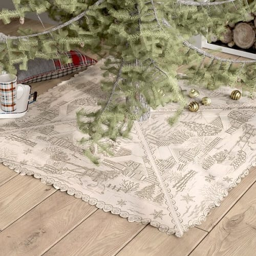Square Christmas Tree Skirt | Beautiful Square Christmas Tree Skirts with Snowy Scenes in Off White