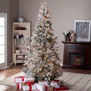 7.5ft Pre-Lit Lightly Flocked Whiteland Pine Christmas Tree