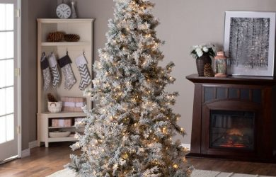 7.5ft Pre-Lit Lightly Flocked Whiteland Pine Christmas Tree