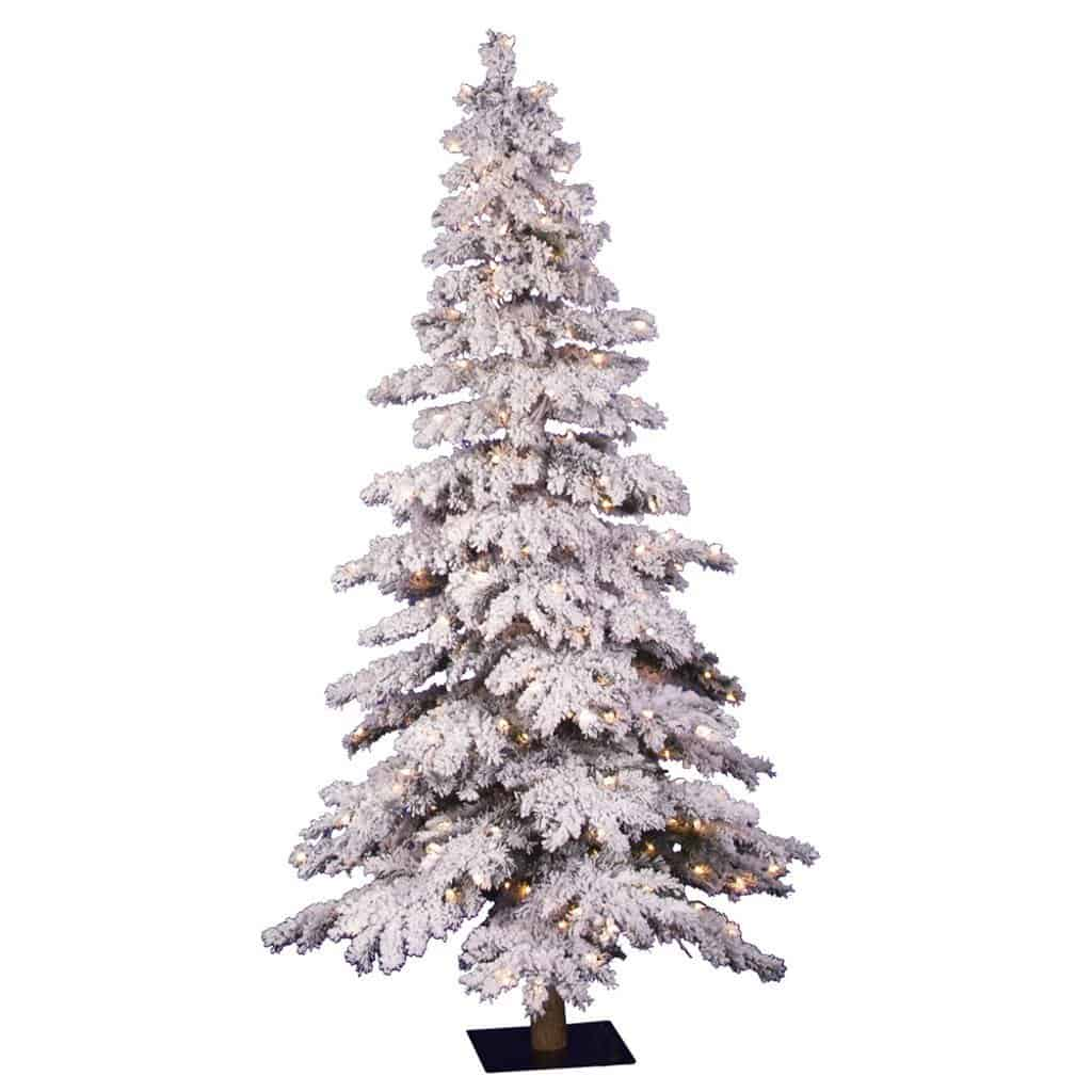 Pre lit flocked christmas tree with 250 clear dura lit lights 5 ft