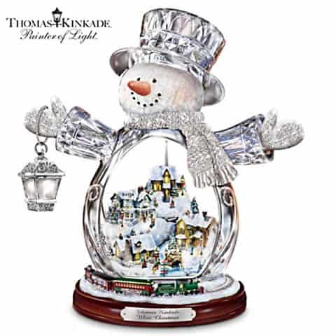 Thomas Kinkade Crystal Snowman With Village and Moving Train