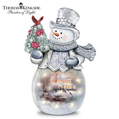 Thomas Kinkade Warm Winter's Glow Illuminated Glass Snowman
