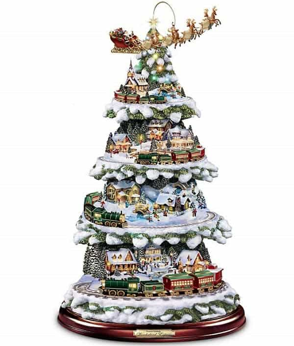 Thomas Kinkade Tabletop Christmas Tree With Lights, Moving Train, Music and Sleigh