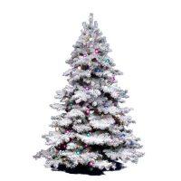 Vickerman Flocked Fake Christmas Tree with Dura-Lit Multicolor Lights