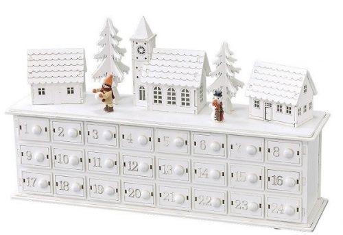 Winter Town Scene Wooden Advent Calendar - Wooden Christmas Advent Calendars