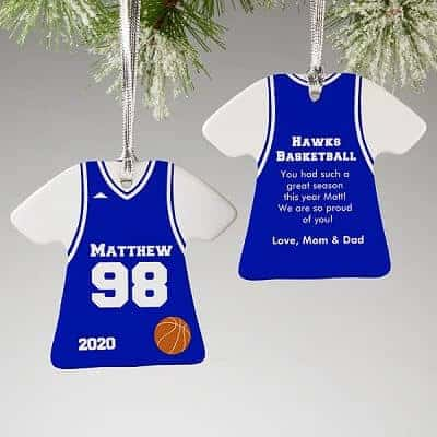 2-Sided Basketball Sports Jersey Personalized T-Shirt Ornament