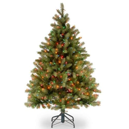 4.5ft Feel-Real Christmas Tree with 450 Multi-Colored Lights - Feel Real Christmas