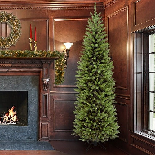 7.5 ft Kingswood Fir Pencil Slim Christmas Tree - Flame resistant and non-allergenic