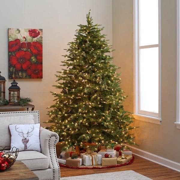 7.5 ft. Pre-lit Feel Real Nordic Spruce Hinged Christmas Tree