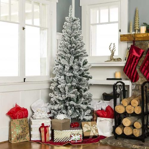7.5ft Flocked Pencil Slim Christmas Tree