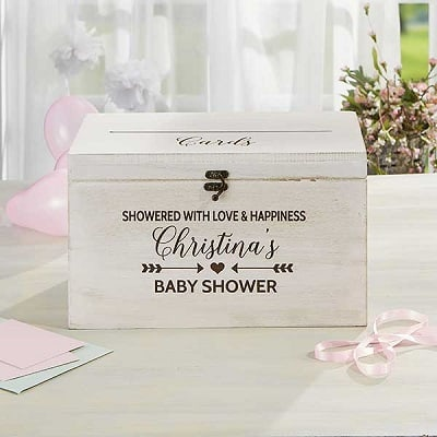 Baby Shower Personalized Wood Card Box