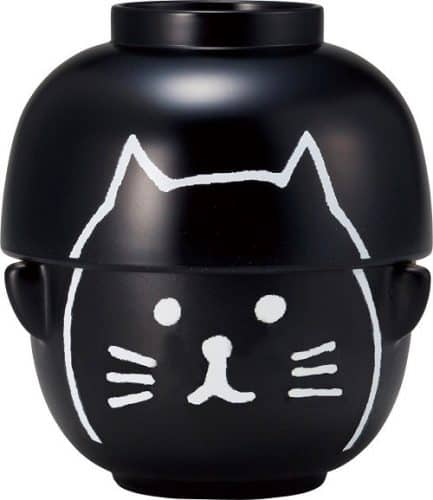 Black Cat Japanese Bowl and Soup Bowl set - great for noodles or soups!