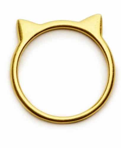 Cat Ear Ring made from sterling silver with 18k gold plating #sterlingsilver