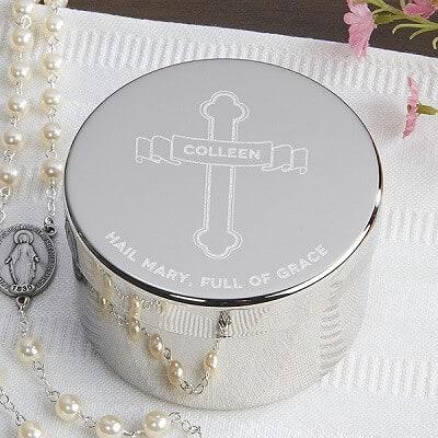 Full of Grace Personalized Rosary Keepsake Box