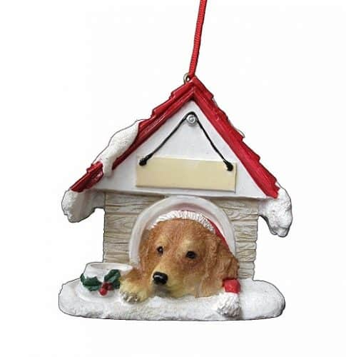 Golden Retriever Dog House Christmas Ornament