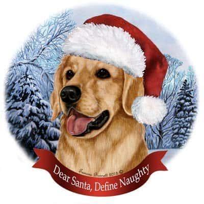 Golden Retriever In Santa Hat Porcelain Christmas Ornament