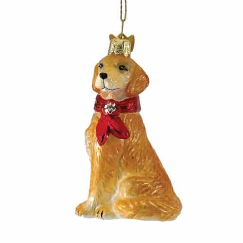 Golden Retriever with Bow Ornament - Beautiful Golden Retriever Christmas Ornament