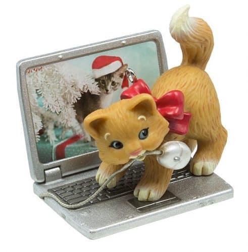 Hallmark 2016 Christmas Ornaments Mischievous Kittens Computer Mouse