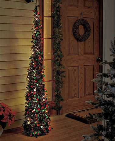 Lighted Christmas Tree in Green/red for Small Spaces