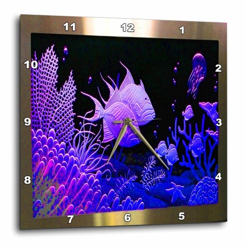 Neon Purple fish in an Aquarium Clock