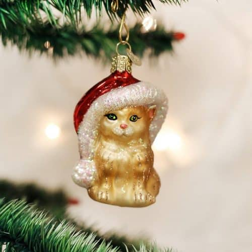 Old World Christmas Santa's Kitten Glass Blown Ornament