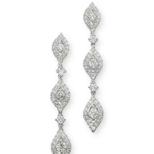 Pavé Diamond Drop Earrings in 14K White Gold, 1.60 ct.