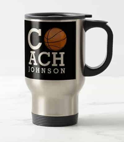 Personalized Basketball Travel Mug for Coach