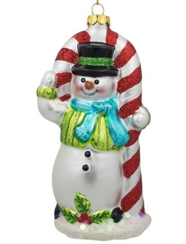 Snowman with Candy Cane Christmas Ornament - Beautiful sparkly Christmas ornament