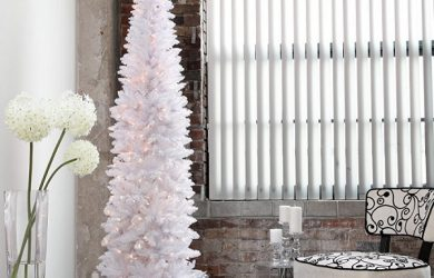 White Pencil Slim Christmas Tree