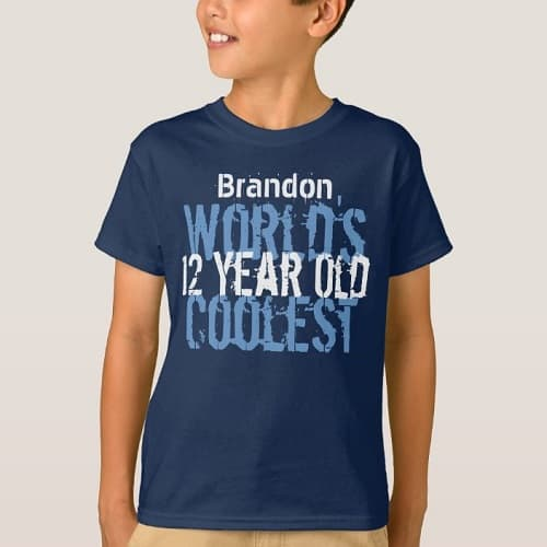 12th Birthday Gift World's Coolest 12 Year Old Boy T-Shirt