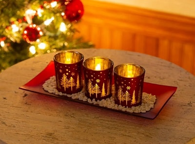 3 Piece Tabletop Votive Holder - Glass Christmas Candle Holders
