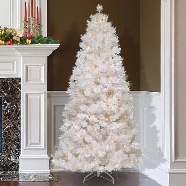 7.5 Ft White Slim Christmas Tree with 500 Pre-Lit Clear Lights and Tree Stand #slimwhitechristmastree