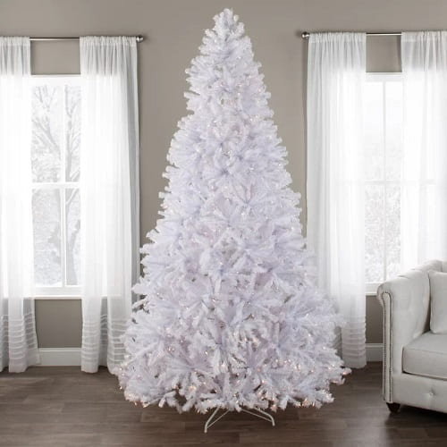 9ft. Fake White Christmas Tree with Lights
