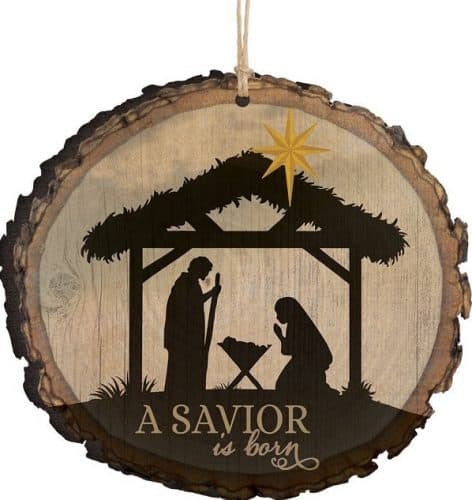 A Savior is Born Nativity Scene Religious Christmas Ornament