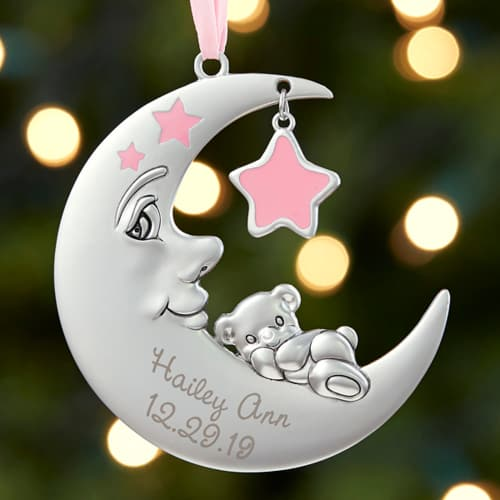 Baby's 1st Christmas Personalized Moon Girl Ornament
