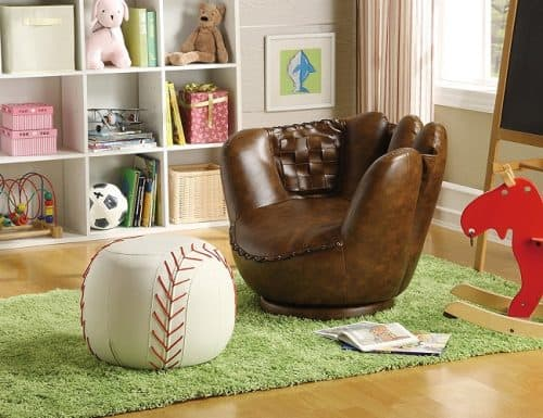 Baseball Glove Chair and Ottoman - Baseball Themed Gifts for Boys