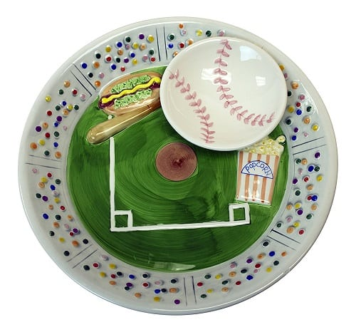Baseball Stadium Ceramic Chip Dip Serving Platter - Gift idea for a baseball lover