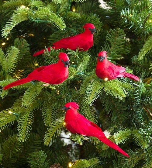 Clip-On Cardinal Christmas Tree Ornaments, Set of 4