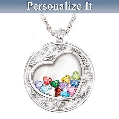 Crystal Heart Birthstone Pendant Necklace For Grandma