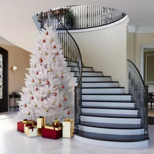 Crystal White Spruce Christmas Tree with White Lights