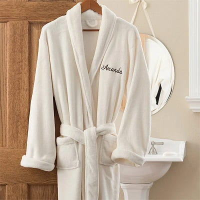 Embroidered Personalized Luxury Ivory Fleece Robes