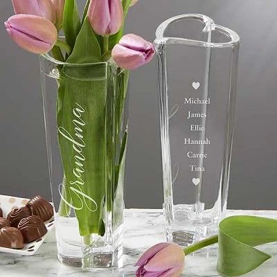 Engraved Crystal Heart Bud Vase For Grandma
