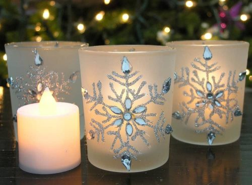 Frosted Glass Candle Holders with Snowflakes (includes LED candles)