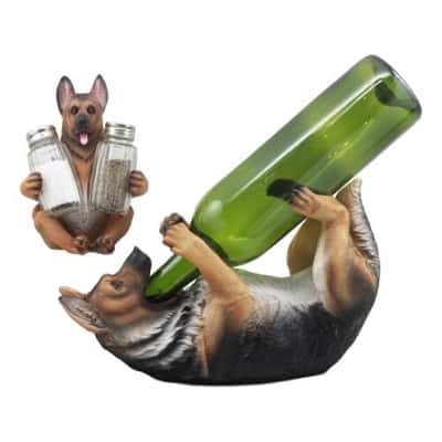 German Shepherd Wine Holder and Salt Pepper Shakers Holder Figurine Set